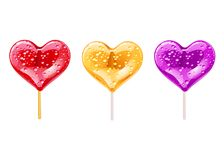 Set of romantic lollipops in the shape of a heart. Sweetness for Valentines day. Vector illustration. Set of romantic lollipops in the shape of a heart Royalty Free Stock Images