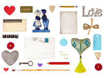 Set of romantic objects for Valentine and other love designs Royalty Free Stock Image