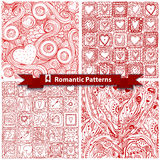 Set of  romantic patterns with doodle hearts. Stock Photography