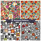 Set of romantic patterns with doodle hearts. Royalty Free Stock Image