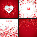 Set of romantic red heart backgrounds. Vector illustration. For holiday design. Many flying hearts on white and red background. For wedding card, valentine's Royalty Free Stock Images