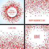 Set of romantic red heart backgrounds. Vector illustration. For holiday design. Many flying hearts on white background. For wedding card, valentine's day royalty free illustration