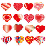 Set of romantic red hearts Royalty Free Stock Image