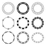 Set of romantic vector round frames with hearts Stock Photography