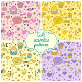 Set of romantic seamless pattern in vector Stock Image