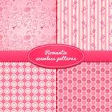 Set romantic seamless pattern vector illustrations Stock Image