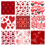 Set of 9 romantic seamless patterns Royalty Free Stock Image