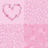 Set of romantic seamless patterns and floral heart. Set of romantic elements: 2 seamless patterns with hearts, 1 seamless pattern on lace elements, 1 floral Royalty Free Stock Image