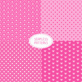 Set of romantic seamless patterns with hearts. Beautiful   illustration. Royalty Free Stock Photography