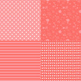 Set of romantic seamless patterns with hearts (tiling). Pink color. Vector illustration. Background. Heart shape. Stock Images