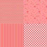 Set of romantic seamless patterns with hearts (tiling). Pink color. Vector illustration. Background. Heart shape. Stock Photos