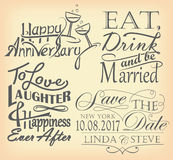 Set of romantic signs. Including save the date, anniversary and wedding quote designs Stock Image