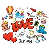 A set of romantic stickers in a cartoon, childlike style for Valentine`s Day. Vector. A set of romantic stickers in a cartoon, childlike style for Valentine`s Stock Photos