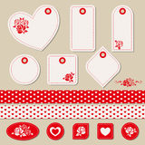 Set of romantic tags, stickers, ribbons Stock Images