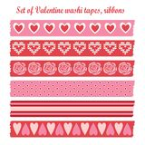 Set of romantic Valentine vintage washi tapes, rib Royalty Free Stock Photo