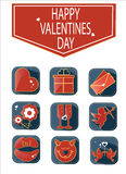Set of romantic Valentines day icons. Set of color romantic Valentines day icons Royalty Free Stock Photography