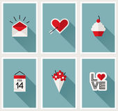 Set of romantic Valentines day symbols. Vector illustration Royalty Free Stock Image