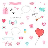 Set of romantic vector elements. Gift, hearts, flower, lips and other. Valentines day characters and illustrations. Stock Photography