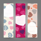 Set of Romantic vertical banners. Hearts ornament. Vector Illusration. Stock Photo