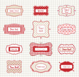 Set of romantic vintage hand drawn labels templates, illustration Stock Photo