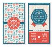 Set of romantic wedding invitations in marine Royalty Free Stock Photography