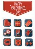 Set romantyczne valentines dnia ikony Fotografia Royalty Free