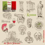 Set of Rome doodles. For design and scrapbook - hand drawn in royalty free illustration
