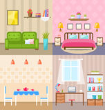 Set Room Interiors with Furniture Flat Icons Royalty Free Stock Photos