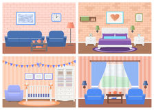 Set of rooms interiors in flat design. Vector illustration. Royalty Free Stock Photos