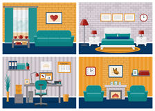 Set of rooms interiors in flat design. Vector illustration. Royalty Free Stock Photo