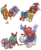 Set roosters with flowery patterns Royalty Free Stock Image