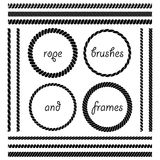 Set of rope brushes and frames Stock Photo