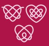 Set of rope heart knots Stock Photos