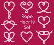Set of rope hearts decorative knots Royalty Free Stock Image