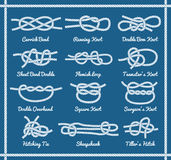 Set of rope knots, hitches, bows bends Royalty Free Stock Images