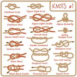 Set of rope knots, hitches, bows, bends. Isolated on white background. Decorative vector design. Part 1 of 3 Royalty Free Stock Photos