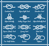 Set of rope knots, hitches, bows bends. Part 1 3 Royalty Free Stock Photos