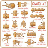 Set of rope knots, hitches, bows, bends  on white background. Decorative vector design Royalty Free Stock Photo