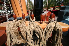 Set of ropes. On an old boat Royalty Free Stock Image