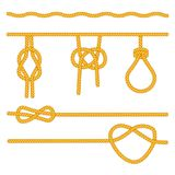 Rope knots collection. Decorative elements. Vector illustration. A set of ropes with different variants of knots. Vector illustration Stock Photo