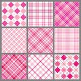 Set rosafarbene Plaids Stockfoto