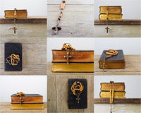 Set of rosary beads and breviary Stock Photo