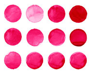 Set of rose, carmine, red watercolor hand painted circle isolated on white. Illustration for artistic design. Round. Set of colorful watercolor hand painted Royalty Free Stock Photography