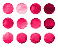 Set of rose, carmine, red watercolor hand painted circle isolated on white. Illustration for artistic design. Round stains, blobs. Set of colorful watercolor Stock Photos