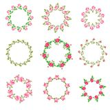 Set rose floral ornate round frames Stock Images