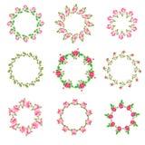 Set rose floral ornate round frames. Vector illustration. Best  for your design of celebration postcard, textil, web Stock Images