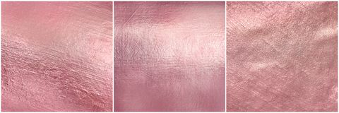 Set rose gold metal texture. Luxure elegant soft foil background. Hi res Stock Photography