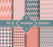 Set rose quartz and serenity geometric Patterns.  2016 colors of the year Stock Photo