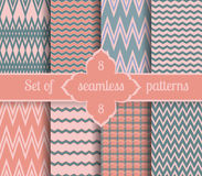 Set rose quartz and serenity geometric Patterns.  2016 colors of the year Stock Photos
