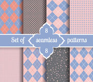 Set rose quartz and serenity geometric Patterns.  2016 colors of the year Stock Photography